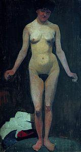 weiblicher Akt, frontal, Arme gebeugt - Paula Modersohn-Becker, 1900