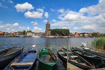 Zicht op Hasselt op de oever van het Zwarte Water van Sjoerd van der Wal