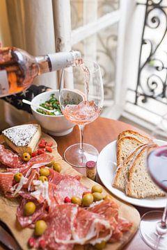 Wein und Antipasti von Origami Art