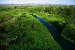 Luchtopname van de  Chagres rivier in Soberania National Park, Panama van