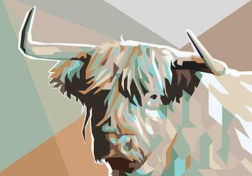 Schotse Hooglander Koeienschilderij in Pop Art Schilderij Koe van Kunst Company