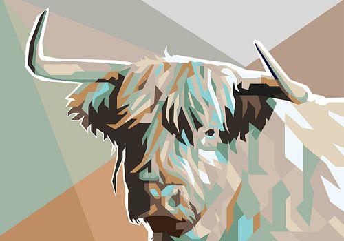 Schotse Hooglander Koeienschilderij in Pop Art Schilderij Koe