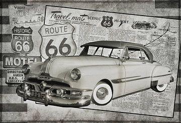 Collage in schwarz / weiß von einem restaurierten Pontiac von Kvinne Fotografie