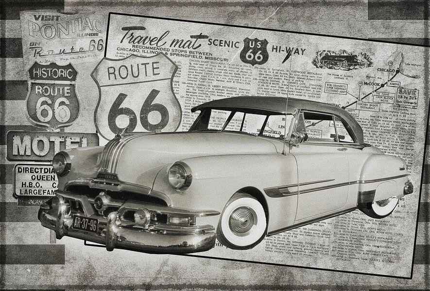 Reclamebord Route 66 met Pontiac Chieftain in zwart/wit
