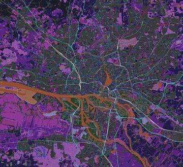 Carte de Freie und Hansestadt Hamburg ou Hamborg im Negativ