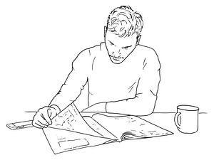 Entspannen Sie sich bei etwas Lesen und einer Tasse Kaffee.