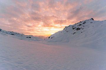 Zonsondergang in winter wonderland van Leo Schindzielorz