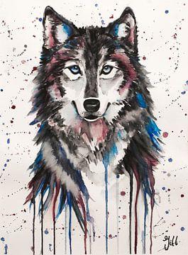 Wolf aquarel in kleur van Bianca ter Riet