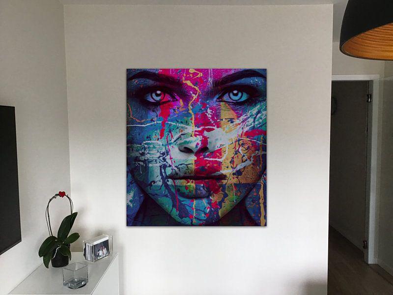 Klantfoto: Just Face - 100 Splash Pop Art van Felix von Altersheim, op canvas