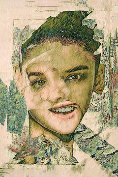 collage portret vrouw van Lida Bruinen