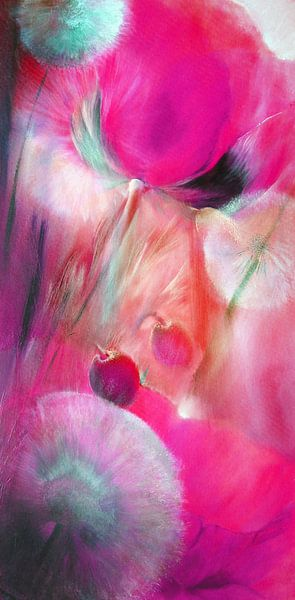 Klaprozen en paardebloemen, roze van Annette Schmucker