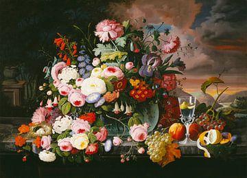 Stillleben von Blumen und Früchten mit einer Flusslandschaft in der Ferne, Severin Roesen von Meesterlijcke Meesters