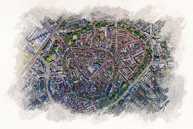 Kaart van Amersfoort in aquarel stijl van Aquarel Creative Design
