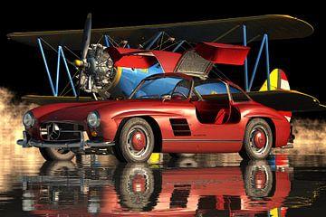 Mercedes 300 SL Gullwing 1964 Portes rouges ouvertes