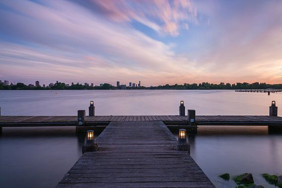 Sunset kralingseplas Rotterdam van Ilya Korzelius