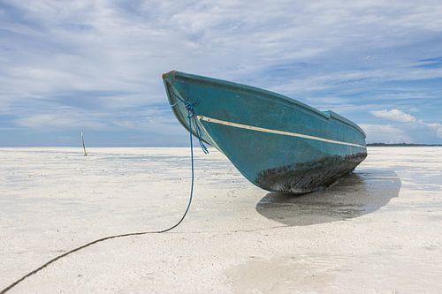 Boot op het witte strand op de Molukken | Indonesië