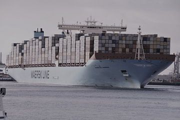 Maersk containerschip, Maasvlakte 2, Rotterdam von Maurits Bredius