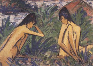 Zwei badende Mädchen, nackt, Otto Mueller - 1921 von Atelier Liesjes