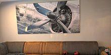 Klantfoto: Vintage Douglas DC-3 propellor vliegtuig klaar voor vertrek van Sjoerd van der Wal, op canvas