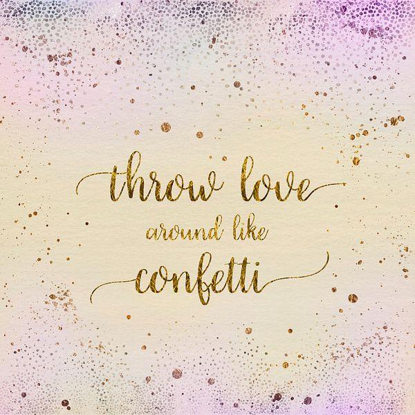 de tekst art gooien liefde om als confetti | glanzende kleuren van