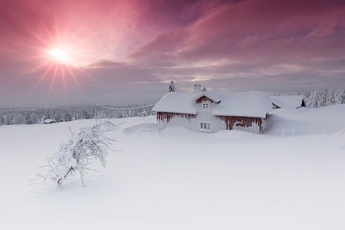 Ondegesneeuwde blokhut in Noorwegen tijdens zonsopkomst van