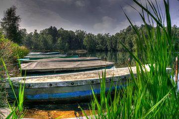 boten liggend in Venekotensee Duitsland van Rene Wassenbergh