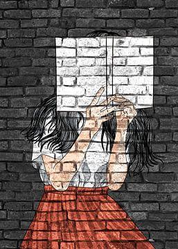 Teenager mit Buch Graffiti auf Mauerwerk von KalliDesignShop