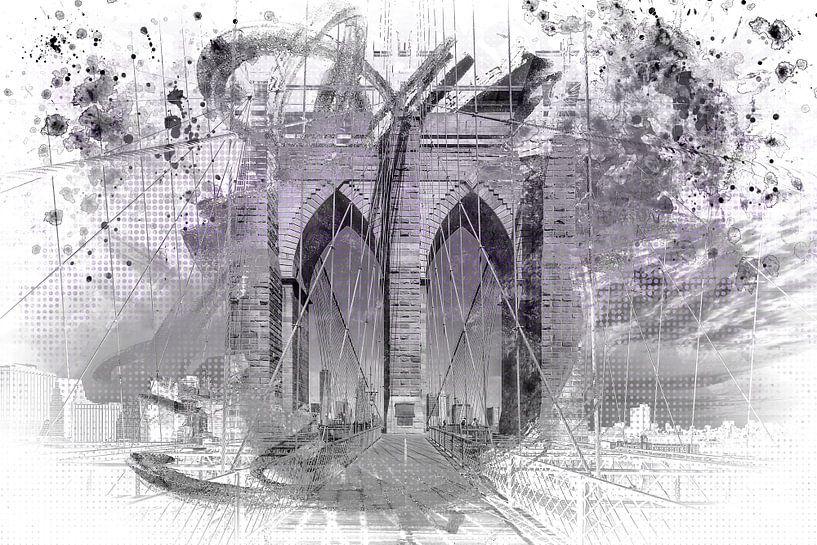 City Art Brooklyn Bridge in Detail | paars  van Melanie Viola
