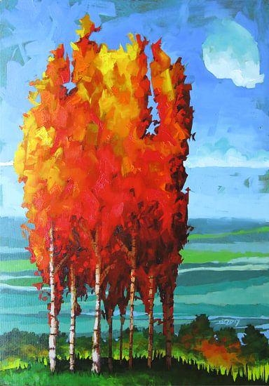 Burning Birches van Thomas Dijkstra