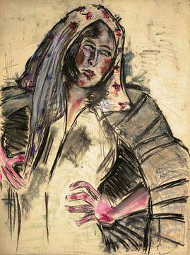 Frau mit Kopftuch in einem Porträt, Arno Nadel von Atelier Liesjes