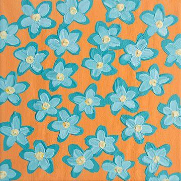 Blumen retero orange blau aqua von Bianca ter Riet