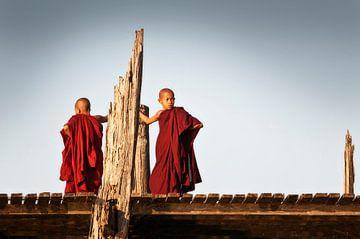 Jonge monniken op U bein brug in Myanmar.