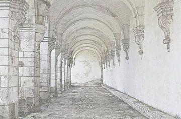 Pontigny tekening van Yvonne Blokland