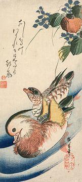 Ando Hiroshige. Mandarijneenden en bloeiende planten
