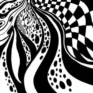 Schwarz Weiß Zentangle - Zendoodle Karo