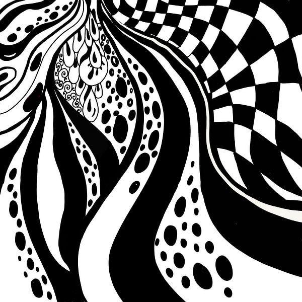 Schwarz Weiß Zentangle - Zendoodle Karo von Patricia Piotrak
