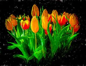 Ein Strauß Tulpen. von Nico van der Hout