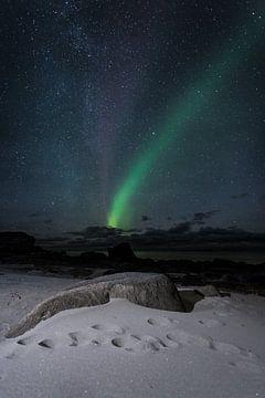 Noorderlicht op Uttakleiv Beach van