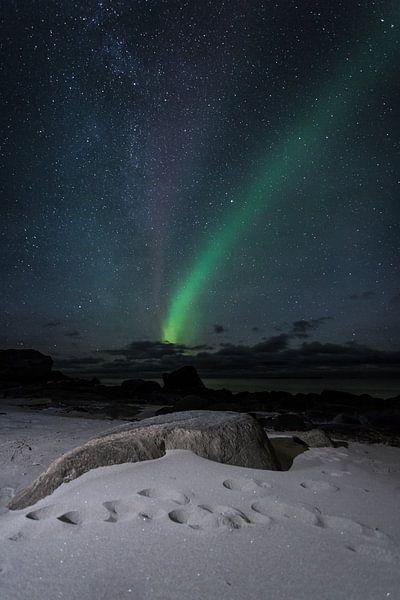 Noorderlicht op Uttakleiv Beach van Dion van den Boom
