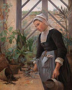 Bretonisches Mädchen, das sich um die Pflanzen im Gewächshaus kümmert, Anna Petersen