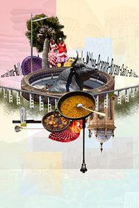 Collage Spanje o.a. Arena Granada Andalusie vakantiegevoel van Marianne van der Zee