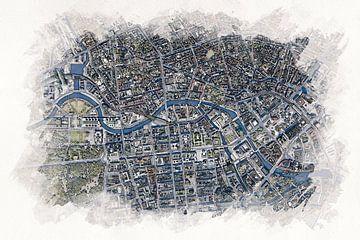 Karte von Paris im Aquarellstil von Aquarel Creative Design