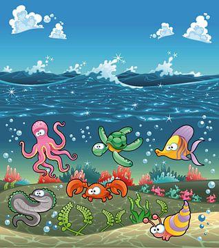 Süße Kreaturen in einer Unterwasserwelt von Atelier Liesjes