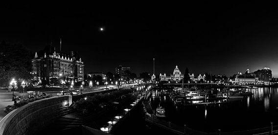 Zwart wit panorama van de haven van Victoria, BC