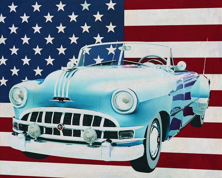 Pontiac Chieftain Convertible 1950 met vlag van de V.S. van Jan Keteleer
