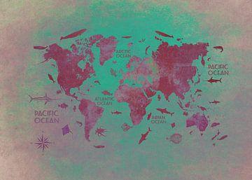 Weltkarte grün rot #Karte #Weltkarte von JBJart Justyna Jaszke