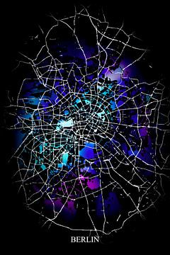 Berlin - Abstrakte Karte in Schwarz Lila Blau von Art By Dominic