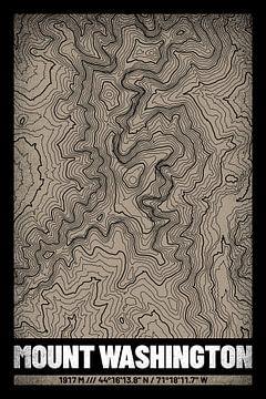 Le Mont Washington | Topographie de la carte (Grunge) sur ViaMapia