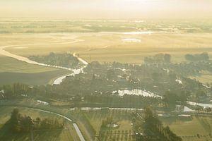 Luchtfoto van het stadje Blokzijl in Overijssel tijdens zonsopkomst