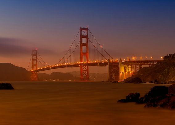 Golden Gate Bridge at Sunset van Melanie Viola